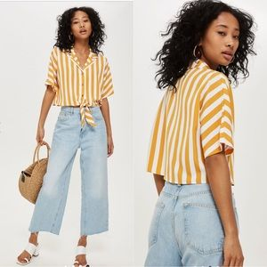 Topshop Gold Striped Cropped Tie Shirt Size 12